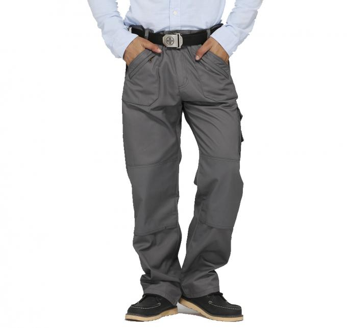 Twill Woven Fabric Mens Multi Pocket Work Trousers With Zipper Tear Resistant