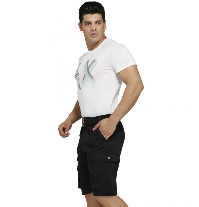 Safety Multi Pockets Mens Black Work Shorts Twill Woven With Tear Resistance