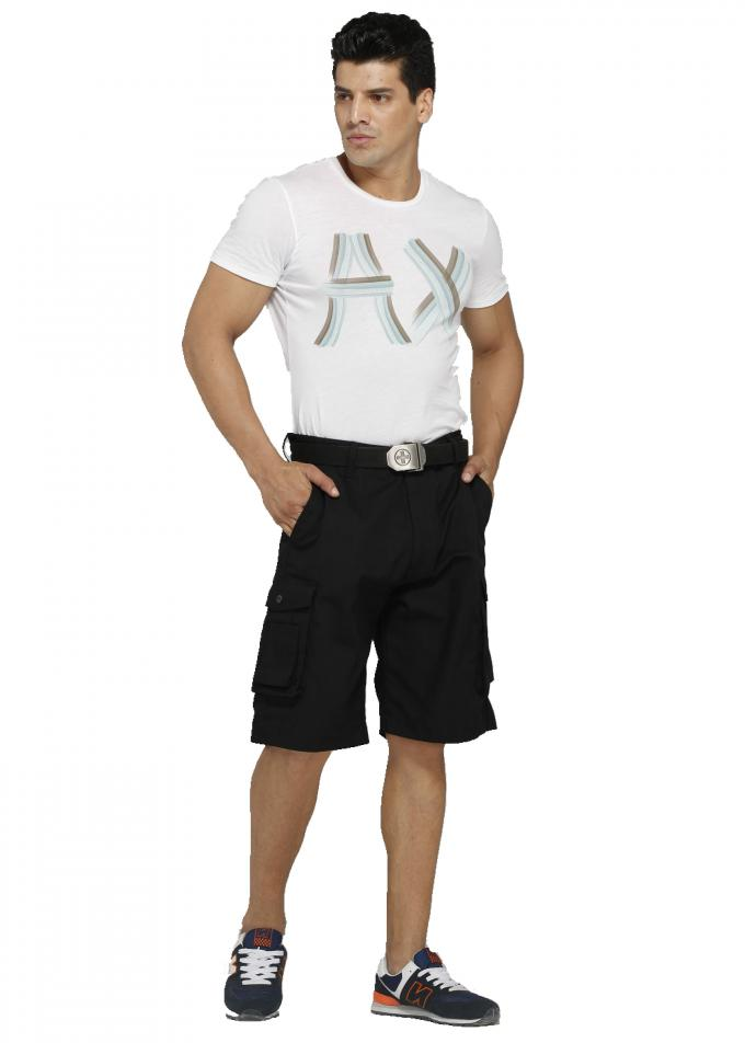 Triple Stitching Black Cargo Work Shorts With Tuck Way Holster Pockets