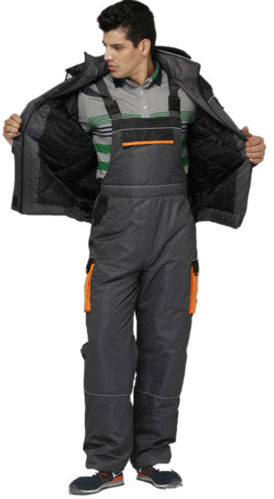 Industrial Safety Winter Bib Pants With  Elastic Waist And Adjustable Braces