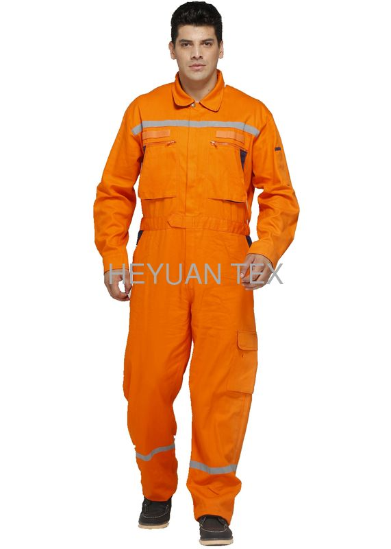 100% Cotton Heavy Duty Work Overalls With Yellow Decorating Reflective Tapes