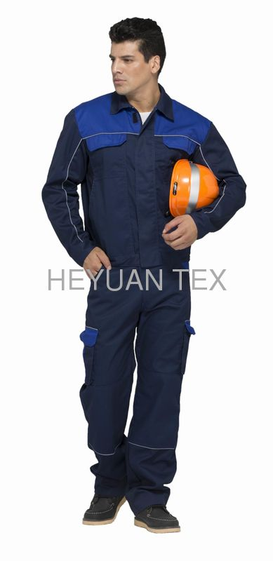 Safety Industrial Work Uniforms Navy / Royal Blue Two Colors With Reflective Piping