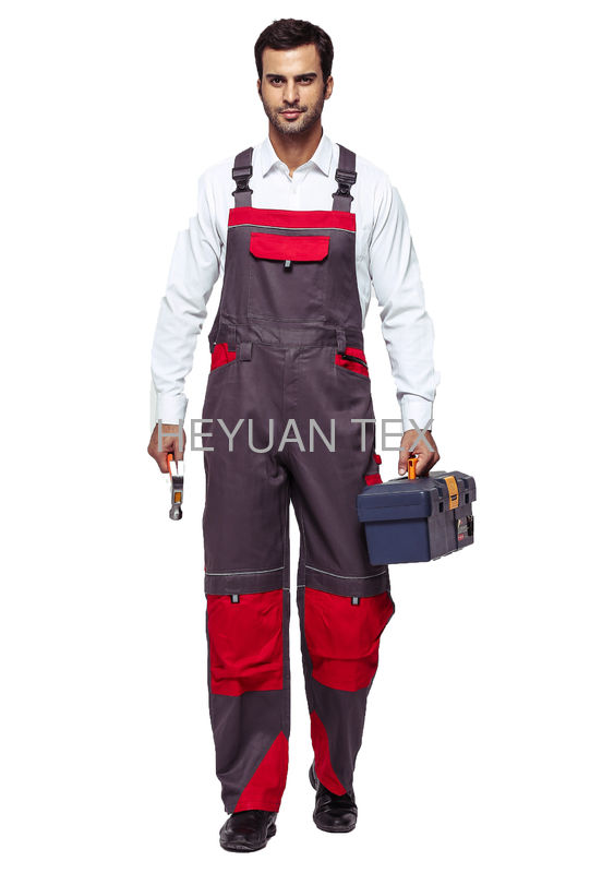 2 Tone Contrast Bib & Brace Workwear Protective Haif Overall With Reflective Piping