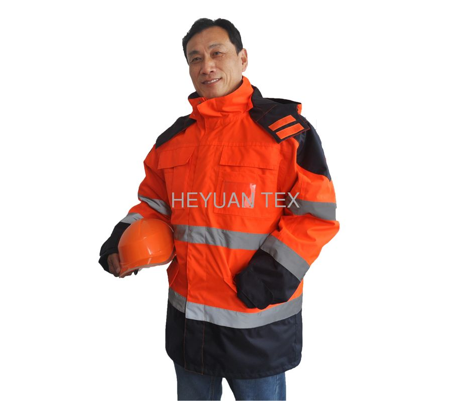 Executive 5 In 1 Hi Vis Waterproof Jacket With Hood , High Visibility Safety Clothing