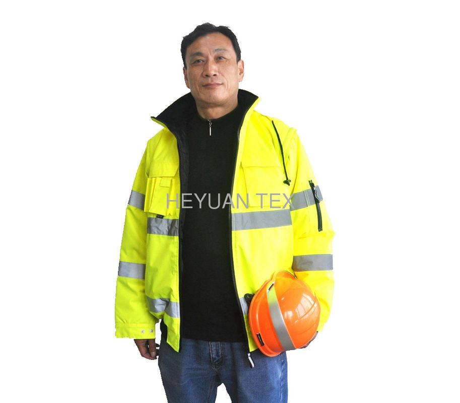 Stain Resistant High Visibility Work Uniforms Safety Jacket With Detachable Sleeves