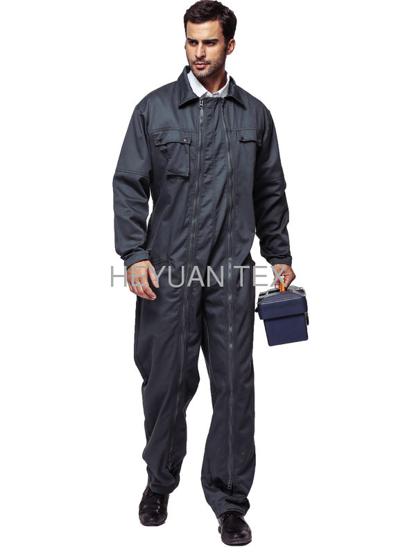 Durable Heavy Duty Coveralls With Zipper Material 65% Polyester 35% Cotton