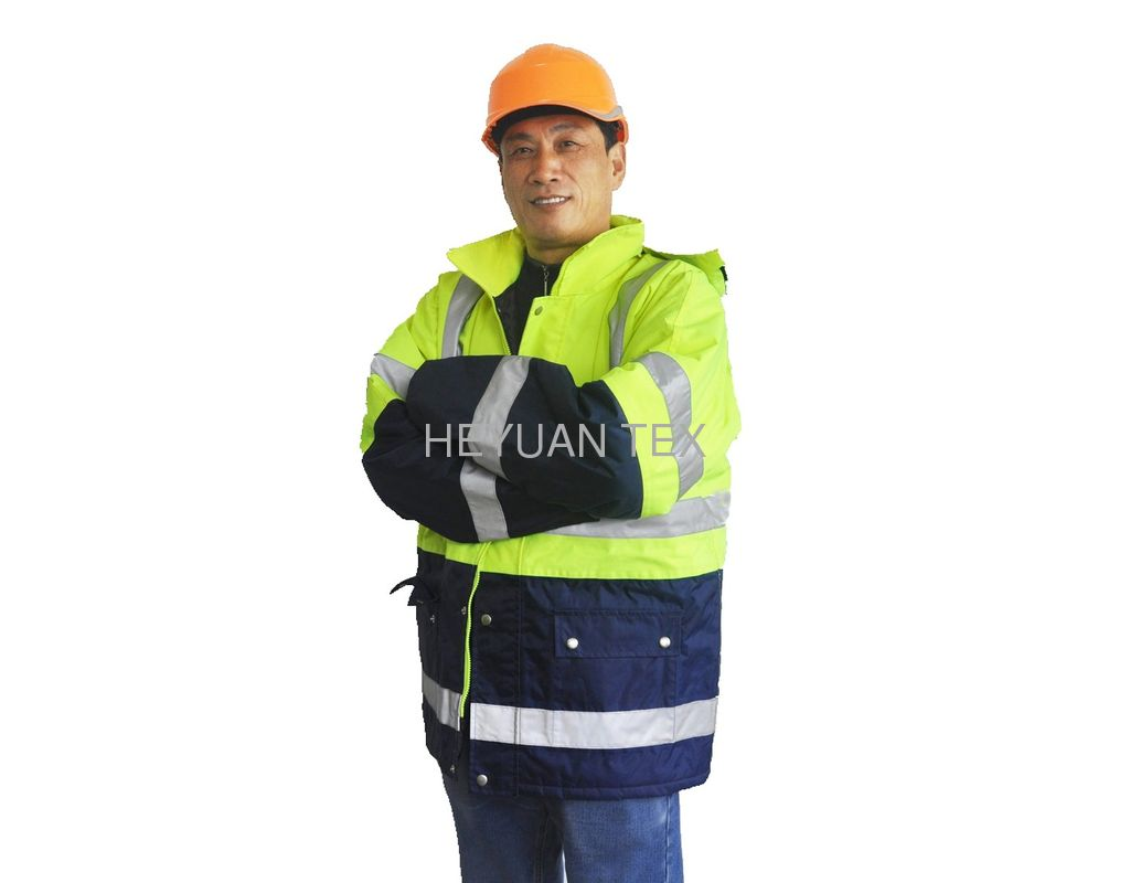 2 Tone Reflective Winter Work Jackets 300D Oxford Mens Winter Safety Jackets