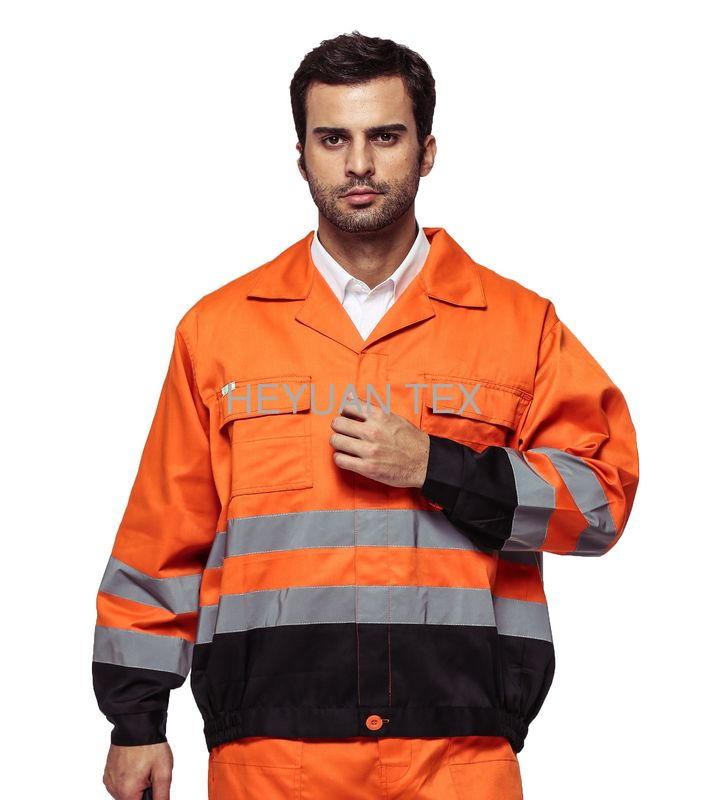 Outdoor Twill Fabric High Visibility Work Uniforms With Multi Pockets EN ISO 20471
