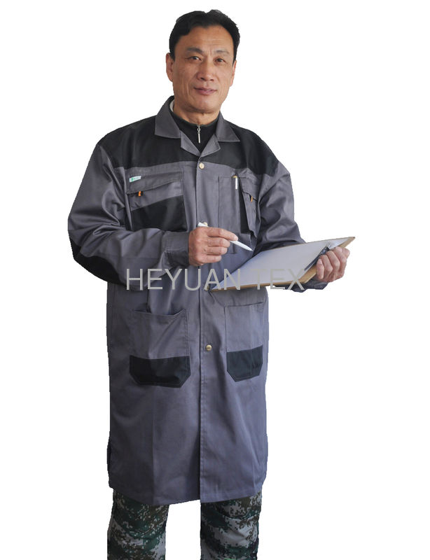 100% Cotton Twill Contrasted Mens Work Coats For For Engineering / Warehouse Worker