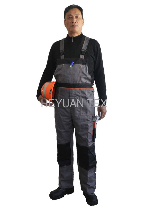 Multi Functional Pockets Bib Work Pants And Brace Workwear Garment With Strong Stitching