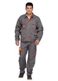 China Bright Contrast Color Match Professional Work Uniforms Multi Pockets Jacket And Bibpants factory