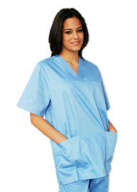 V Neck Tops Medical Work Uniforms Short Sleeves With Two Bottom Angled Pockets