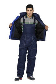 Contrast Navy / Royal Winter Bib Pants 100% Polyester Material With Padding