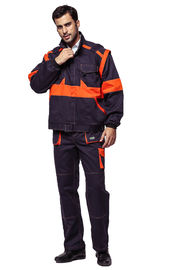 100% Cotton Fabric Industrial Work Uniforms With Orange Detachable Sleeves