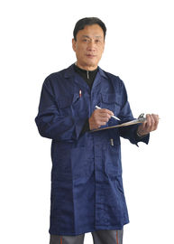 Comfort Long Navy Blue Lab Coat Back Vented For Engineering Or Warehouse Work