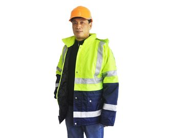Two Tone Breathable Winter Safety Jackets Reflective , Oxford Hi Vis Work Jackets